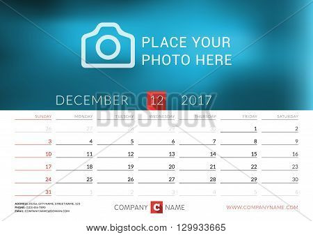 Desk Calendar For 2017 Year. Vector Print Template With Place For Photo. December. Week Starts Sunda