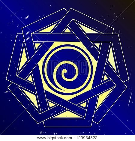 Spiral cosmic  vector illustration, sacral spiritual art.