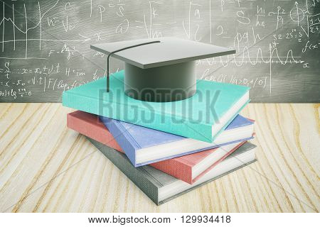 Book and graduation cap on wooden desktop with matematical formulas in the background. Education concept. 3D Rendering