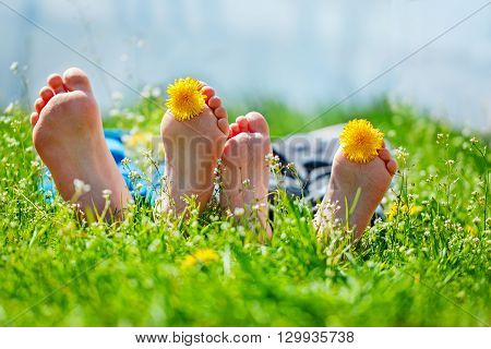 Kids feet with dandelion flowers lying on green grass in sunny day. Concept happy chidlhood
