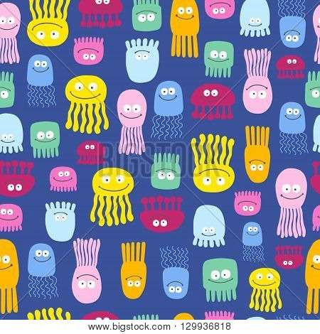Vector jellyfish cute pattern seamless. Background with cartoon smile sea jellyfish.