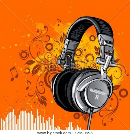 Dj's headphones on a grunge floral background