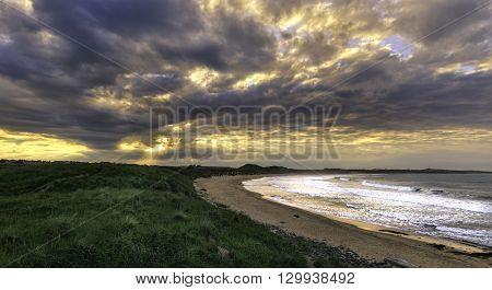 Beautiful Sunset on the Northumberland coast UK.