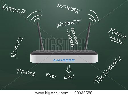 illustration of modem router wireless on chalkboard