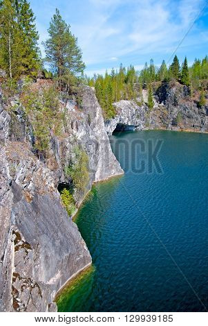 RUSKEALA, KARELIA, RUSSIA - MAY 14, 2016: Mountain Park