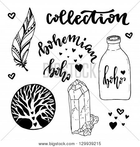 Vector set of Boho Style elements. Vector illustration with hand drawn hippie collection. Coloring book page