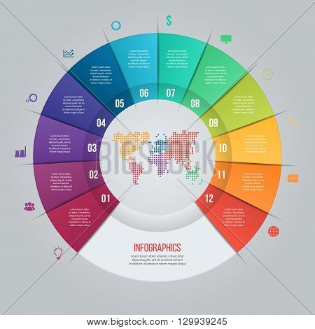 Vector pie chart template for graphs charts diagrams. Business circle infographic concept with 12 options parts steps processes with world map inside.