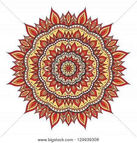 Hand drawn diwali mandala. Doodle mandala with fire ornament. Red orange yellow colors. Vector diwali mandala.