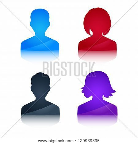 Icons profile colored avatar male and female vector eps 10
