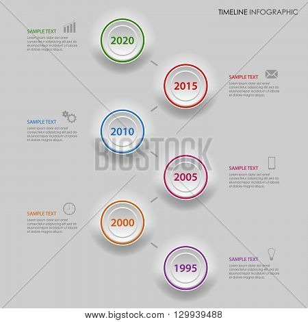 Time line info graphic with gradiented colored circles template vector eps 10