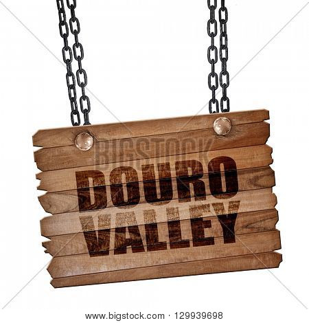 douro valley, 3D rendering, wooden board on a grunge chain
