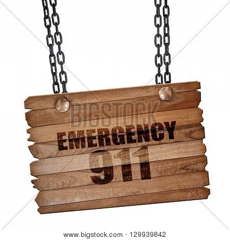 emergency 911, 3D rendering, wooden board on a grunge chain
