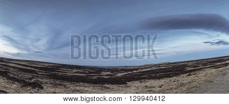 Panoramic View of the moors in West Yorkshire