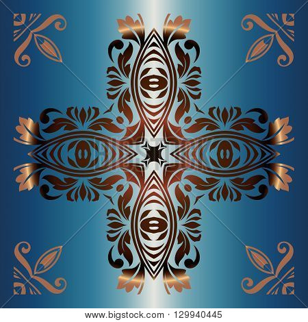 golden abstract tracery vintage decorative pattern in the shape of a cross on a blue background
