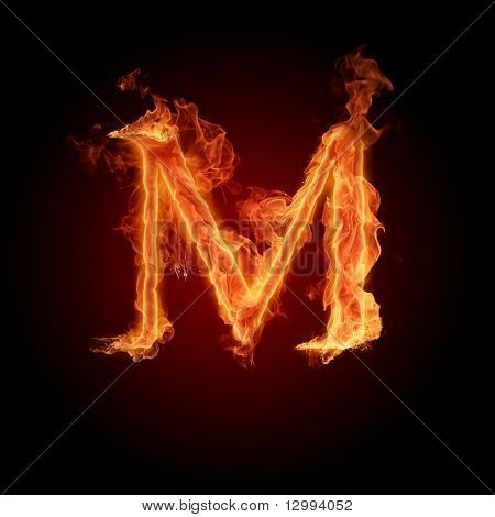 Fuente de fuego. Letra M
