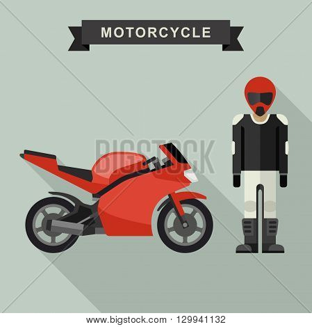 Red sport bike with biker in flat style. Motorcycle vector illustration.