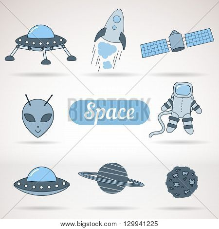Set of space icons for business presentations interface logo. Modern flat design. Astronaut rocket moon alien UFO saturn asteroid. Vector.