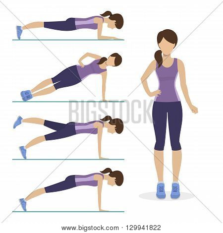 Set of plank exercise. Girl doing different exercises plank. Vector.