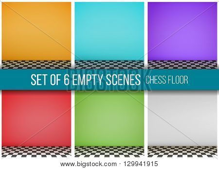 Set of 6 empty scenes with checkerboard floor. Vector.