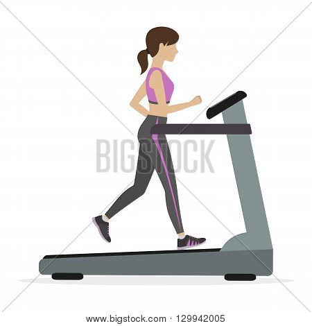 Fitness girl running on the treadmill cardio machine. Vector.