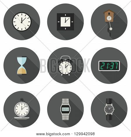 Clock and watches vector icons set. Different types of clocks and watches.
