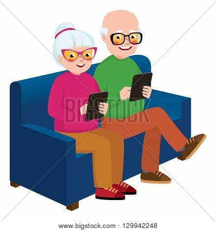 Senior couple husband and wife sitting on the couch with a computer tablet in hands Stock vector illustration
