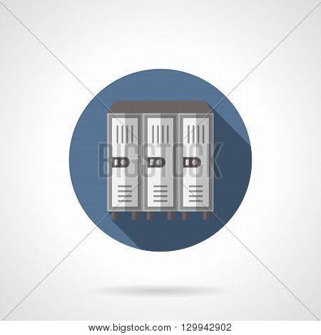 Gymnastic locker with three doors with long shadow. Storage of personal things at school, gym, sports locker rooms. Round flat color style vector icon.