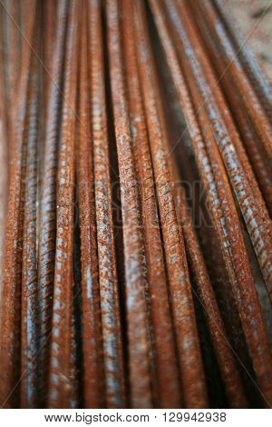 Photo of rusted rod for construction job