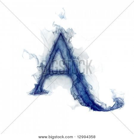 Letter A. Ink in water.