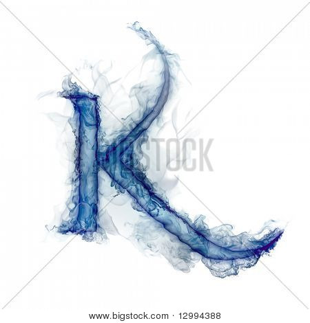 Letter K. Ink in water.