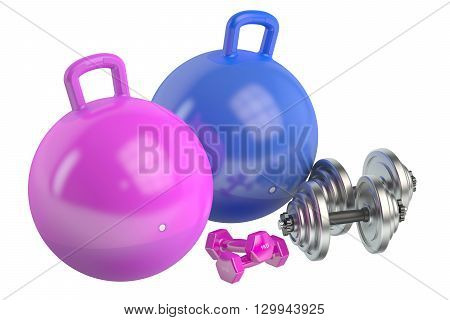 Fitness and sports equipment 3D rendering isolated on white background