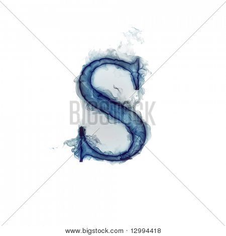 Letter S. Ink in water.