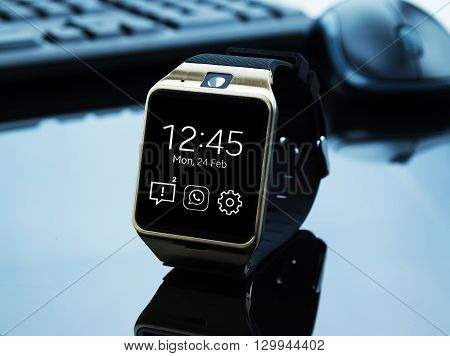 Smartwatch Near Computer Pc Keyboard And Mouse