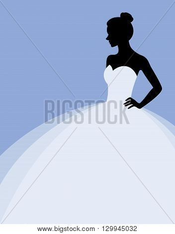Stock vector illustration of a beautiful woman in a wedding dress invitation or flyer template for the bride show