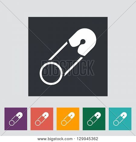 Safety pin icon. Flat vector related icon for web and mobile applications. It can be used as - logo, pictogram, icon, infographic element. Vector Illustration.