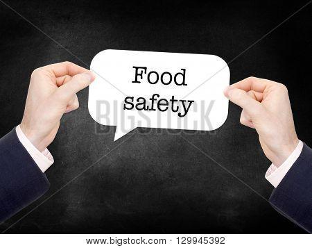 Food safety written on a speechbubble
