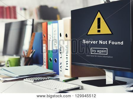 Server Not Found Computer Database Network Concept