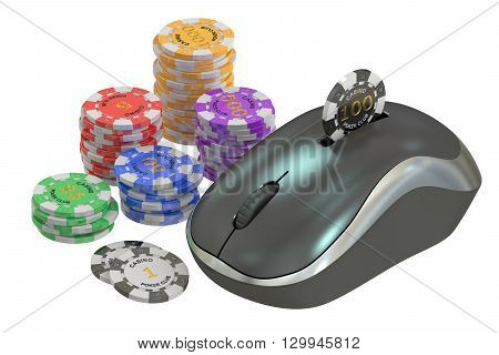 Online gambling concept 3D rendering on white