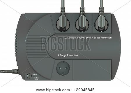 Uninterruptible power supply UPS with electric plugs. 3D rendering isolated on white background