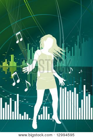 Girl, music background