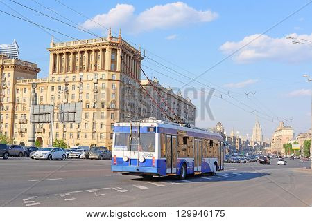 Moscow, Russia - May, 11, 2016:  bus drives down Kutuzov Prospect  in Moscow, Russia