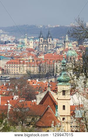 View on the old center of Prague Czech Republic with the Charles Bridge the Church of Our Lady before Tyn and the St Nicholas Church