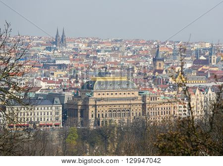 View on the old center of Prague Czech Republic with the National Theatre
