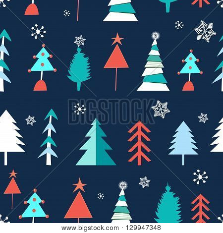 Seamless winter pattern of Christmas trees on a blue background