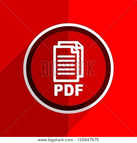 red flat design pdf web modern icon
