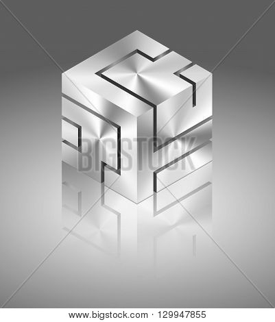 Abstract dinamic metallic cube on gray background