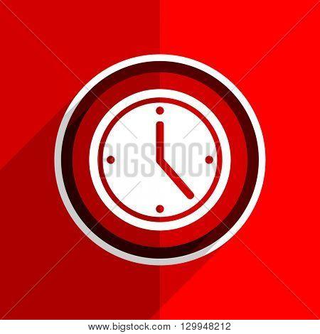 red flat design time web modern icon