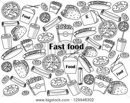 Fast food  design colorless set vector illustration. Coloring book. Black and white line art
