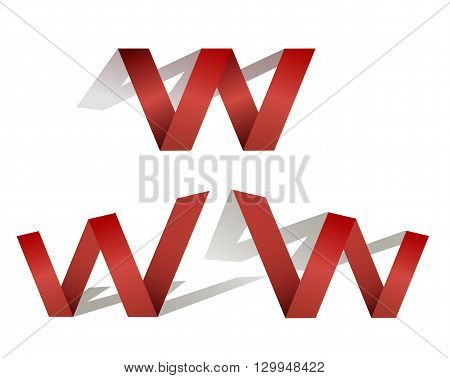 Three red letters W on white background