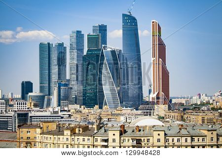 Moscow city modern district with high skyscrapers